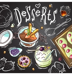 Sweets food top view vector