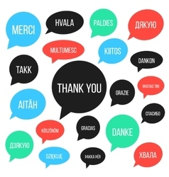 White thank you lettering in different languages vector