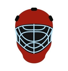 Goalkeeper hockey helmet flat icon vector