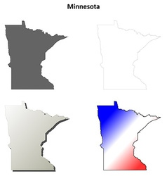 Minnesota outline map set vector