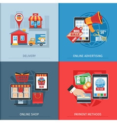 Flat design online shopping concept vector