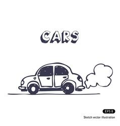 Cartoon car blowing exhaust vector image