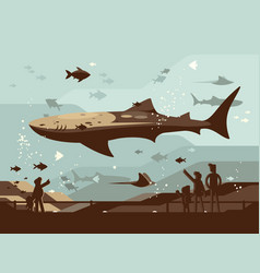 aquarium with large marine fishes vector image vector image
