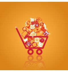 Basket with shopping vector