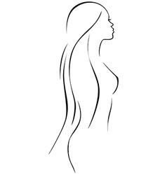 beautiful woman - black line drawing vector image vector image