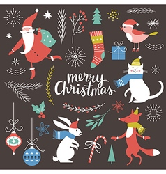 Big Set of Christmas graphic elements vector image