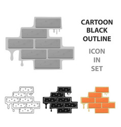 brick wall icon in cartoon style isolated on white vector image