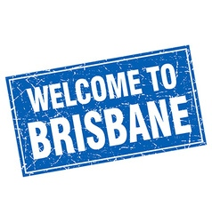 Brisbane blue square grunge welcome to stamp vector