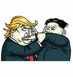 Donald trump versus kim jong-un fighting cartoon vector