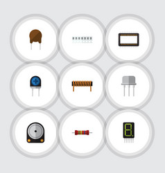 Flat icon electronics set of bobbin memory vector