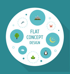 Flat icons landscape beauty insect eco energy vector
