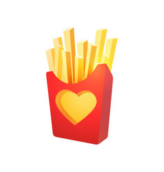 French fries in red carton box vector