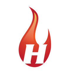 H letter flame logo vector