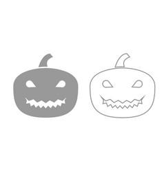 horror pumpkin grey set icon vector image