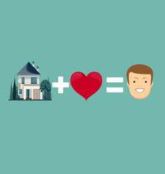 love and home brings you happiness vector image