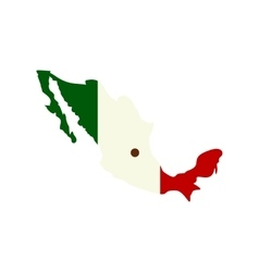 Map of mexico with the image of the national flag vector