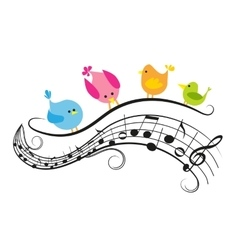Musical notes with birds vector