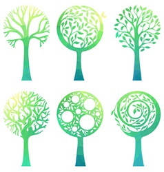 Ornate green trees vector