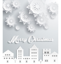 Paper frame town merry christmas vector