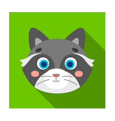 raccoon muzzle icon in flat style isolated on vector image