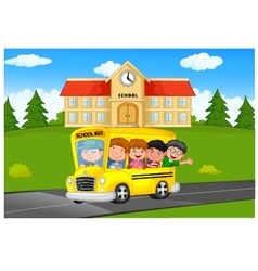 School Kids Riding a School bus vector image vector image
