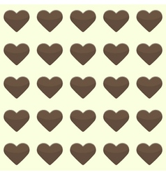 Seamless pattern with cute brown hearts on a vector image