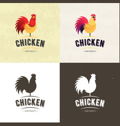 set of chicken farm meat logo badges banners vector image
