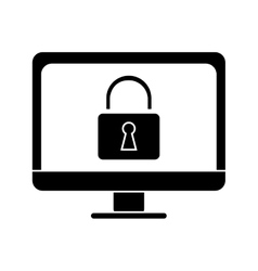 Silhouette computer internet security system vector
