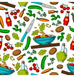 Vegetable salad seamless pattern with ingredients vector