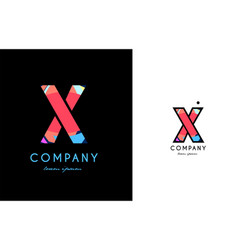 x blue red letter alphabet logo icon design vector image vector image