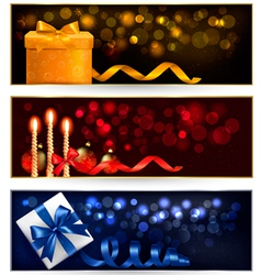 Set of winter christmas banners with gift boxes vector image