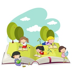 Kids reading books in the park vector image