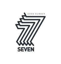 Black and white number seven logo formed by vector