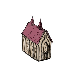 Medieval church drawing vector