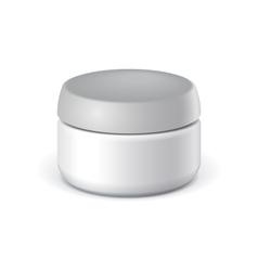 White elegant cosmetic cream jars vector
