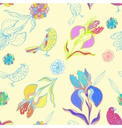 Vintage floral seamless pattern iris and birds vector
