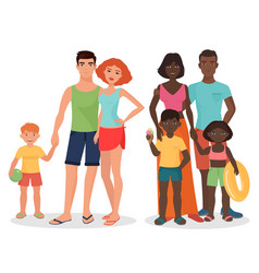 White and african black family on summer vacation vector