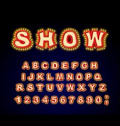 Show font glowing lamp letters retro alphabet vector
