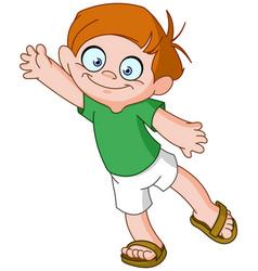 Boy waving vector
