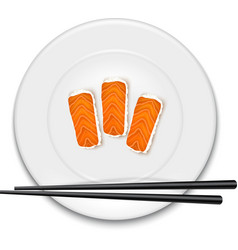 White plate with sushi and chopsticks vector image