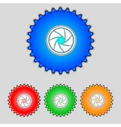 Diaphragm icon aperture sign set colourful buttons vector