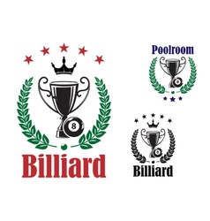 Billiard trophy cup vector