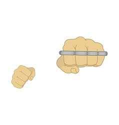 Man fists holding brass-knuckle vector