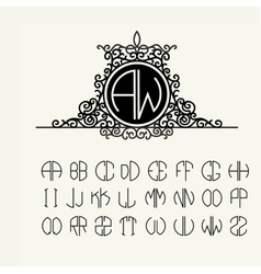 Template letters to create monograms vector