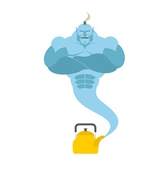 Genie from kettle blue magic spirit fulfills vector