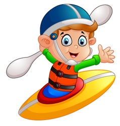 Boy maneuvering a kayak vector