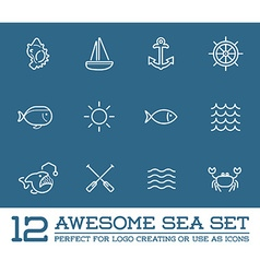Set of sea food elements and sea signs can be used vector