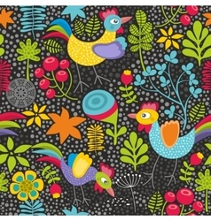 Seamless pattern with plants and cocks vector