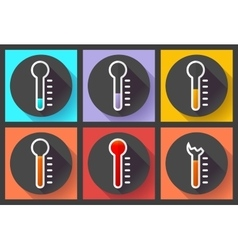 Thermometer icon set High temperature symbol vector image