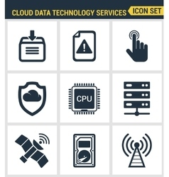 Icons set premium quality of cloud data technology vector image